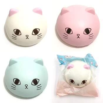 Abest jumbo cat bun squishy soft and slow rising scented squishy cake bread key chain kids toys collection souvenir