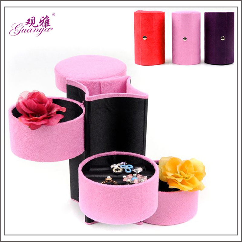 Portable Three Layers Velvet Jewelry Box Creative Jewel Case Lovely Flannel Earrings Storage Casket for wife