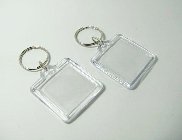 Wholesale 10pcs Blank Acrylic Keychains Insert Photo plastic Keyrings  Square Key ID -free shipping 00097fdb0e5b