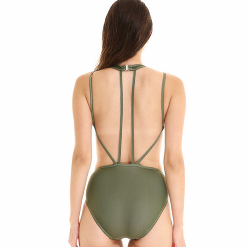 KEKAKA Sexy Solid Army Green String One Piece Swimsuit Women 2018 Plus Size Backless Bathing Suit Bandage Monokinis Swimwear|swimsuit plus|swimsuit womenswimsuit one piece - AliExpress