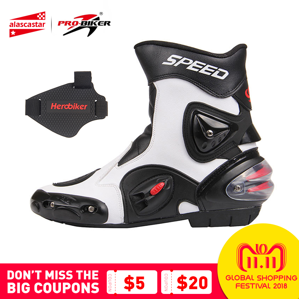 PRO-BIKER SPEED BIKERS Men Motorcycle Racing Shoes Leather Motorcycle Boots Riding Motorbike Motocross Off-Road Moto Boots A004 pro biker travel riding boots motocross motorcycle boots motorbike off road botas moto motorcycle equipmen black size 40 45