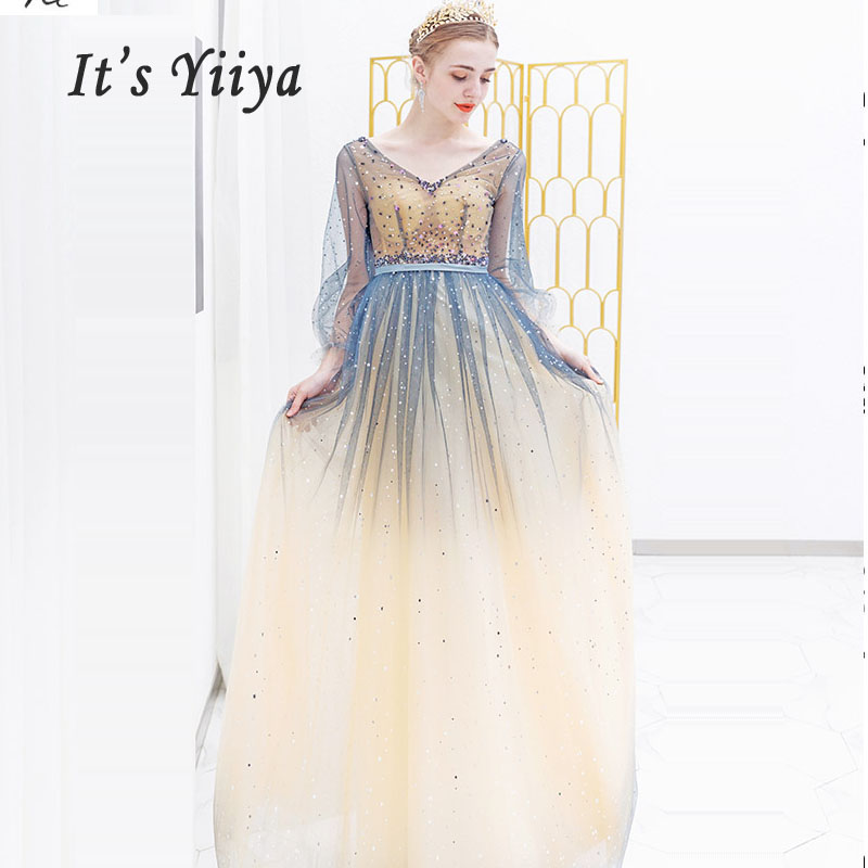 It's Yiiya Evening Dresess Sexy V-neck Women Party Dress 2019 Plus Size Backless Robe De Soiree Long Sleeve Evening Gowns E625