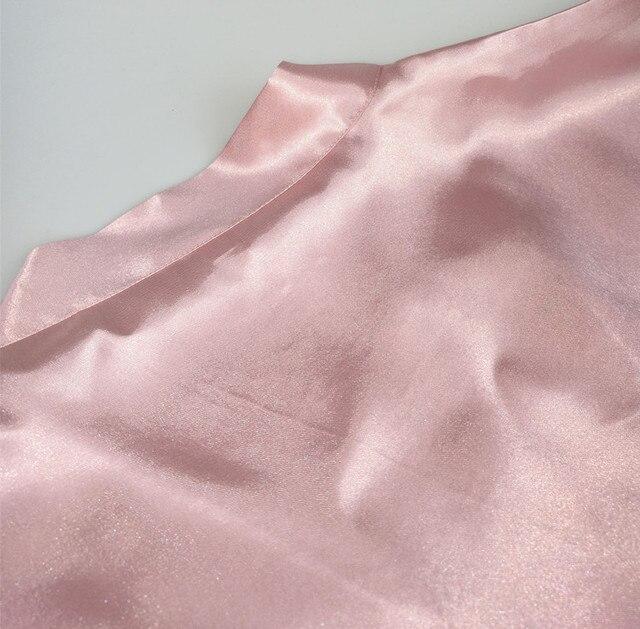 C & Fung Peignoir Femme satynowe szaty ciemnoróżowy szampan zwykły krótki Kimono noc szlafrok piżamy szlafrok szaty kobiety S-XXL