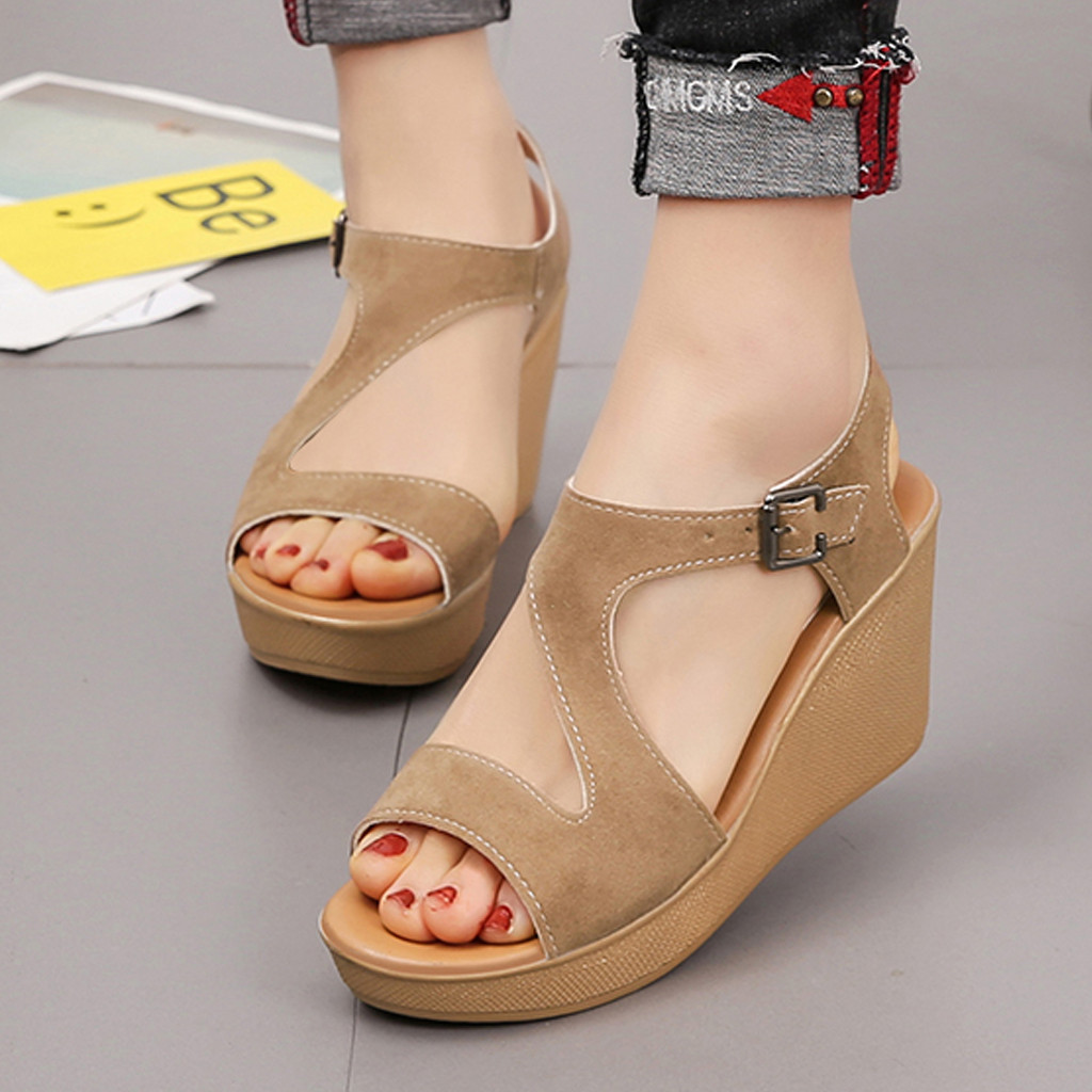 Women Sandals Breathable Beach Hollow Out Summer Open Toe Sandalias Fish Mouth