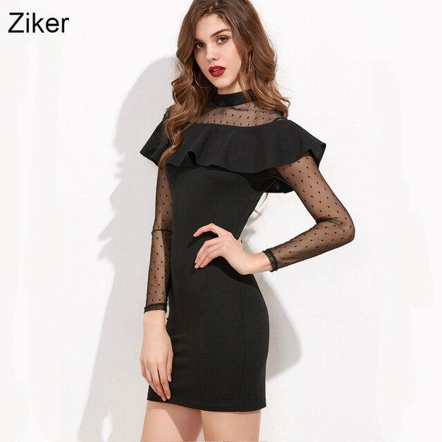 Ziker new 2017 thời trang mùa hè phụ nữ dresses lưới chắp vá quan điểm bodycon slim mini dress