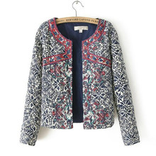 Jacket Ethnic QUILTED Embroidery Long-Sleeve Floral-Print Bohemian Blue White Women Coats-Suits