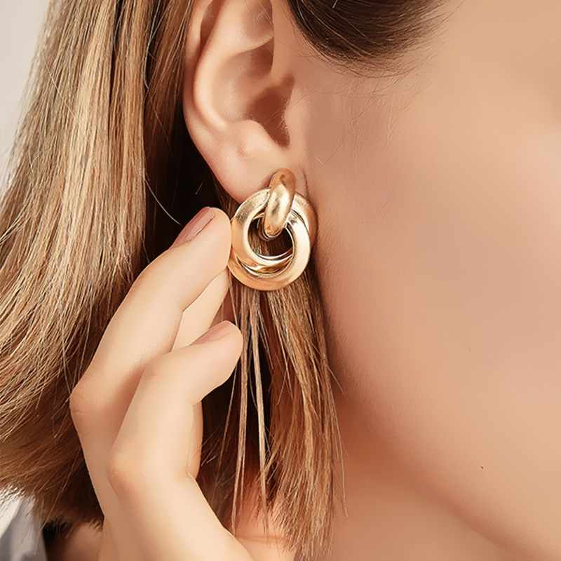 EK338 2019 New Gold Silver Color Knotted Stud Earrings for Women Classic Twisted Small Earrings Cute Solid Statement Jewelry