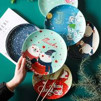 8 Inch Beer Merry Christmas Printed On glazed Ceramic Dishes & Plates Round Cake Dessert Steak Plate Black Cute Children Dish