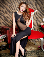 Ms. nuisette lingerie sexy tenue hot erotic underwear dress temptation Autumn Underwear Black Transparent network yarn Stitching