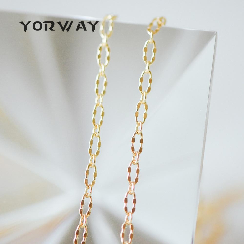 1 Meter, Gold überzogene Messing Oval Kabel Ketten, Reales Gold Dekorative Designer Kette 2,5mm (# Lk-150)/1 Meter = 3,3 Ft