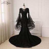 ADLN Amazing Black Evening Dress Tulle Applique V Neck Ruffled Long Flare Sleeves Mermaid Prom Evening