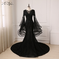 ADLN Amazing Black Evening Dress Tulle Applique V neck Ruffled Long Flare Sleeves Mermaid Prom Evening Gowns