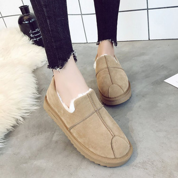 Flats Women Shoes Winter Fur Sneakers Slip On Flats Suede Handmade Boat Lazy Shoes Women Loafers Black Shoes mocassin femme