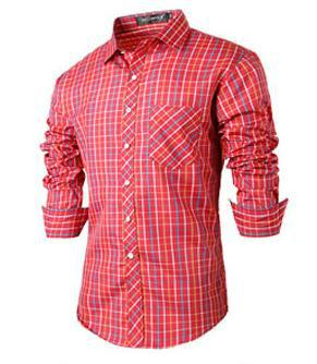 font b Mens b font font b Shirt b font Casual Popular Red Plaid font