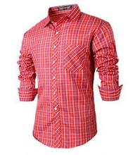 Mens Shirt Casual Popular Red Plaid Shirt Long Sleeve Shirt Slim Fit Cotton Cardigan Cardigan Good Brand New 2016 Size S-2XL7620
