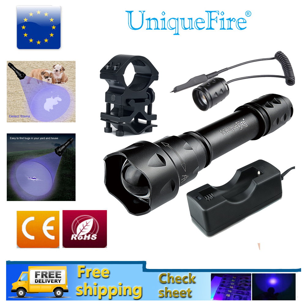 UniqueFire UF T20-365 UV Flashlight Zoom 3-Modes Ultraviolet Rays Lamp Torche+Rat Tail+Charger+Gun Mount For Check Sheet, Curing ontario knife rat 1