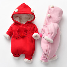 Chinese Tang Suit Baby NEW  Girl Romper with three layers of cotton pink romper winter outfit Jumpsuit Outfit