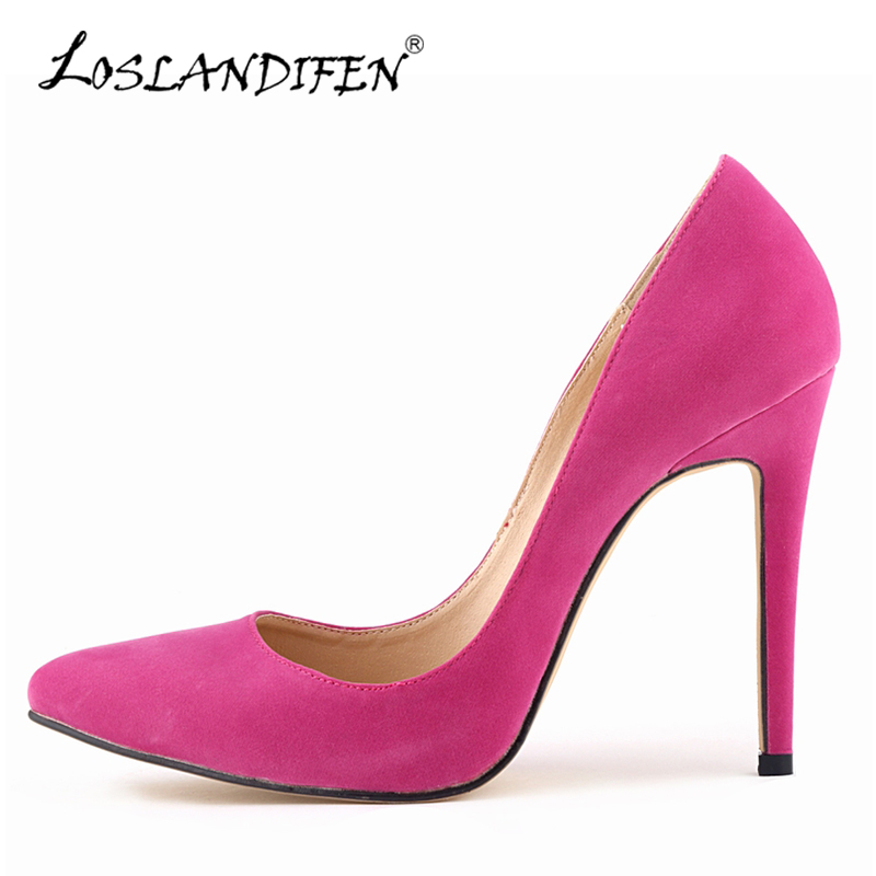 LOSLANDIFEN New Sexy Women Pumps Velvet High Heels Shoes Fashion Pointed Toe Party Court Shoes For Woman Wedding Pumps 302-1VE
