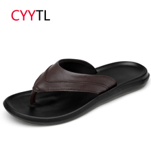 CYYTL 2019 Summer Men Slippers Leather Beach Outdoor Slides Non-slip Flip Flops Soft Indoor Sandals Fashion Rubber Home Shoes the new fashion woman handmade h slippers summer flip flops students beach shoes non slip soft soled indoor sandals