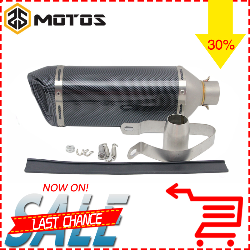 ZS MOTOS 440MM Universal Motorcycle Modified Scooter Exhaust Muffle pipe Fit for most motorcycle ATV with Akrapovic sticker
