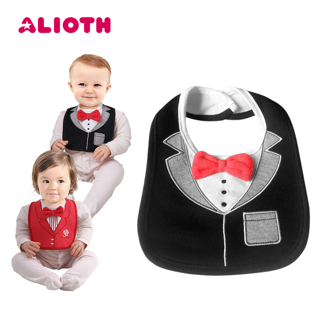 bdb16aa7b Alioth Fashion Baby Bibs Kids Waterproof Saliva Towel Boy Red Bow Tie Tuxedo  Bib Newborn Dinner Feeding Bib Infant Burp Cloth