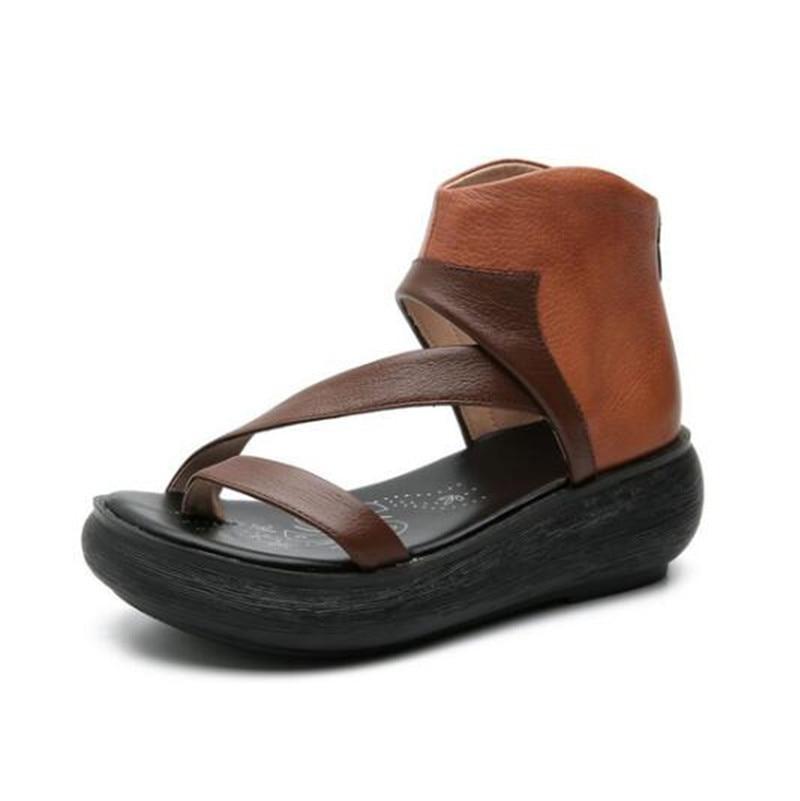Nuevas sandalias de verano para mujer, Sandalias cómodas, sandalias de cuña, sandalias de cuero genuino de Color hechizo, sandalias de moda para mujer-in Sandalias de mujer from zapatos    1