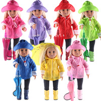 7 color Doll Clothes for American Dolls: 6 Piece Rain Outfit Includes Rain Jacket, Umbrella, Boots, Hat, Pants, and Shirt