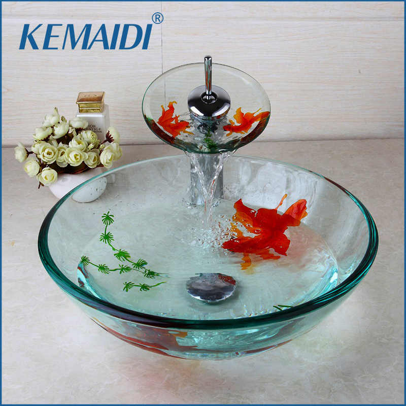 KEMAIDI Modern Bathroom Glass Golden Fish Painted Vessel Sink Faucet & Pop up Drain Combo Sink Set Bathroom Sink Accessaries