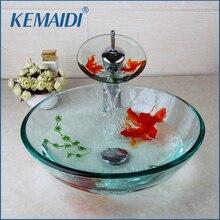 KEMAIDI Moderne Badezimmer Glas Goldene Fisch Gemalt Schiff Sinken  Wasserhahn U0026 Pop Up Abfluss Combo Waschbecken