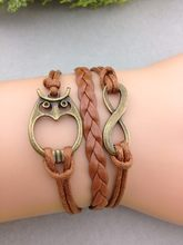 1pcs Bronze Infinity Wish & Owl Bracelet Coffee Wax Cords Brown Braided Leather Vintage Style Bracelet 1057 MIn order 10$(China)
