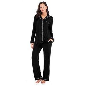 Image 4 - Women Pajama Sets 2 Pieces  Lounge Suit Velvet Elastic Long Sleeves Stretch Sleepwear Pants Tops Satin Silk Pjs Plus Size ouc041