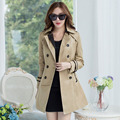 New Women Trench Coat 2015 Style Autumn Fashion Solid Color Double Breasted Long Sleeve Coat With Belt Plus Size XXL Trench Coat