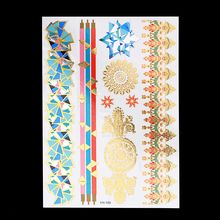 1pc Flash Sexy Products Metallic Waterproof Tattoo Gold YH-100 Classic 3D Flower Temporary Fake Bracelet Tattoo Sticker Bohemian