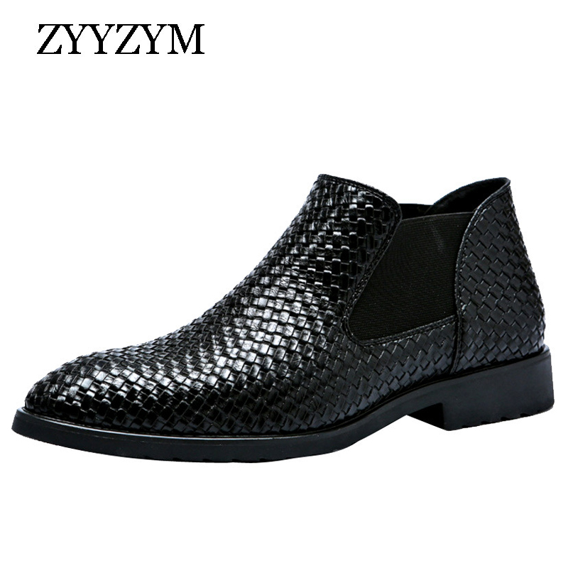 ZYYZYM Men Chelsea Boots Spring Autumn Hand Knit High Help Style Waterproof Classic Fashion Leather Boots Men Shoes 38-48