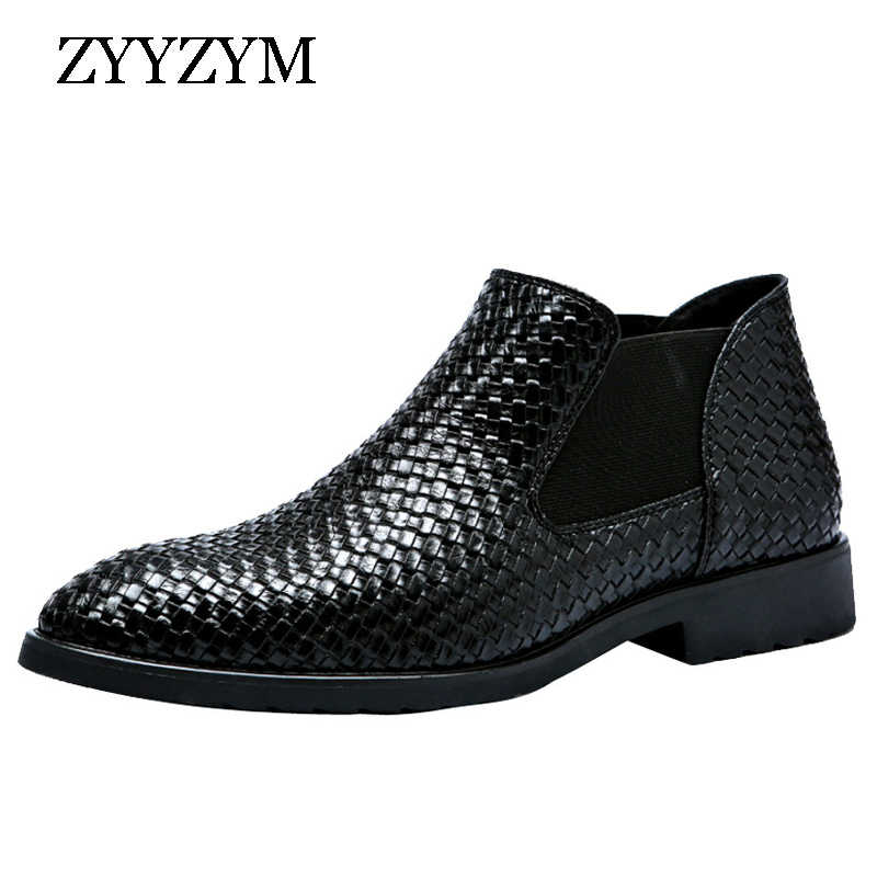 a2fb3c8a095 ZYYZYM Men Chelsea Boots Spring Autumn Hand Knit High help Style Waterproof  Classic Fashion Leather Boots Men Shoes 38-48