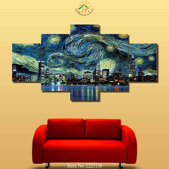 3 4 5 Pieces Oil Stary Sky Cityview Wall Art Paintings Wall Paining ...