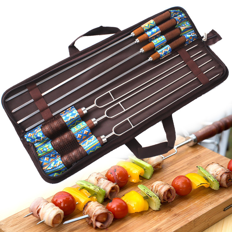 7pcs/set Stainless Steel Barbecue Skewers Outdoor Portable BBQ Needle/Sticks Fork Set Wooden Handle Picnic Tools