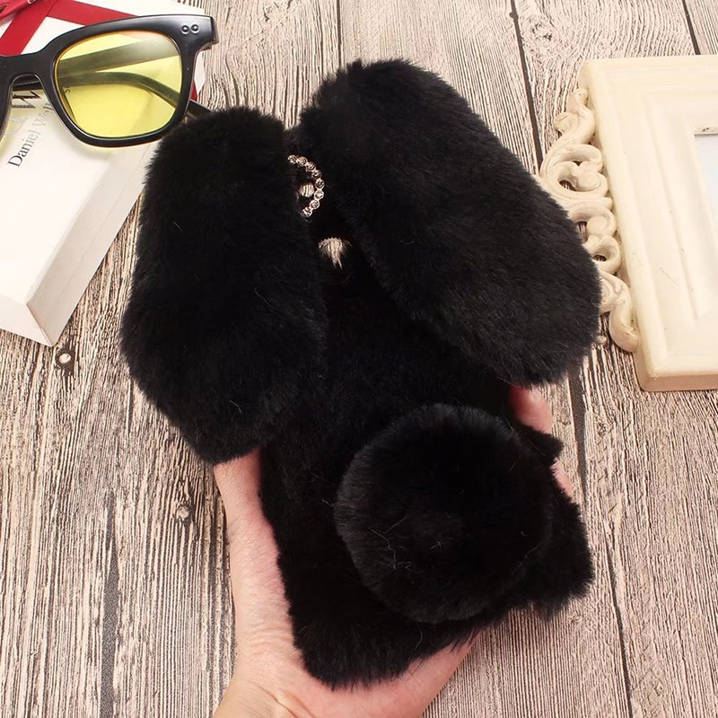 Plush Bunny Case for ZTE Nubia Z18 Mini Soft Fur Cute 3D Rabbit Ears TPU Diamond Phone Case Cover for ZTE Nubia Z18 Mini Case