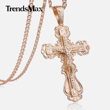 Crucifix Cross Pendant Necklace For Women Men 585 Rose Gold Snail Link Chain Cross Necklace Fashion Wholesale Jewelry KGP172
