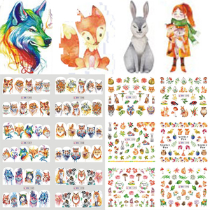 12 Designs Colorful Lovely Fox Designs Plastic Nail Sticker Water Decal Foil Nail Art Decoration Slider Manicure SABN1285-1296