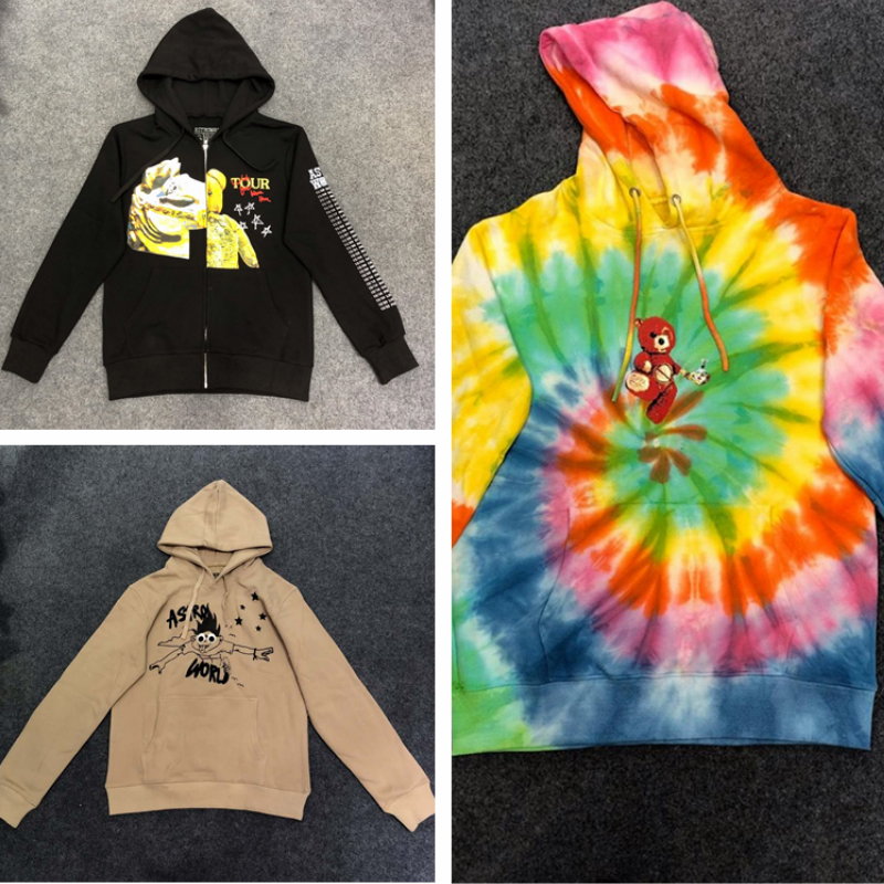 Travis Scott ASTROWORLD Hoodies Men Women Streetwear Rainbow Tie-Dyeing  High Quality Lil Peep Sweatshirts  ASTROWORLD Hoodie