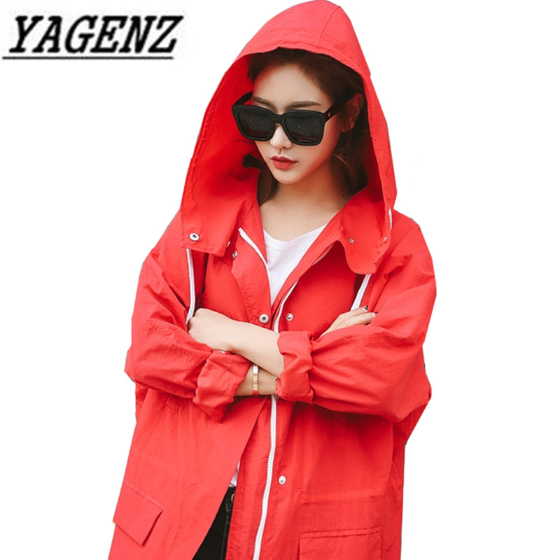 Korea Loose Ladies Hooded   Trench   Coat 2018 Spring Long-sleeved bf Students Trend Windbreaker Long coats Casual Women Thin Coat