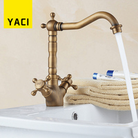 YACI Basin Faucets Antique Bronze Brass 360 Degree Swivel Dual Handle Cold And Hot Water Sink