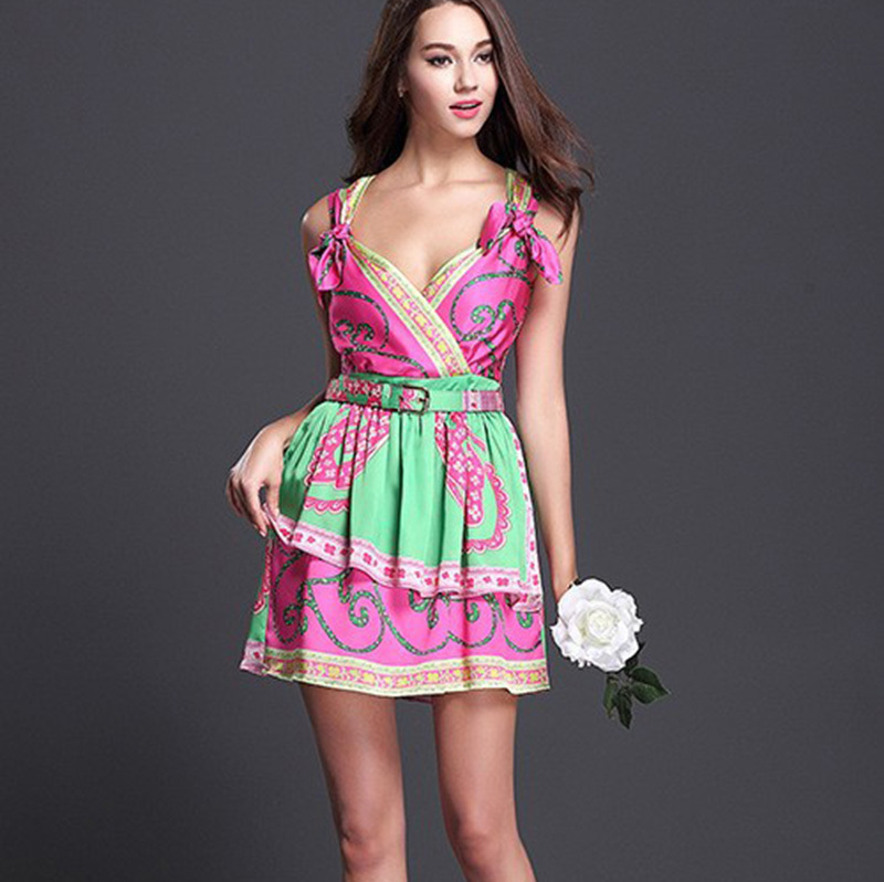 2019 Fashion Summer Women s Sweet Spaghetti Strap Dress Sexy V Neck Colorful Floral Printed Runway