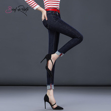 Brief Relate Regular Denim Jeans Ninth-pants Comfortable Durable Mid-waist Pants Skinny Cut Daily Wear High Quality