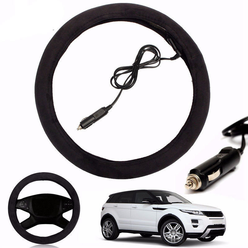 12V Auto Car Lighter Plug Heated Heating Electric Steering Wheel Covers Warmer Winter LW Universal 39cm Steering Covers