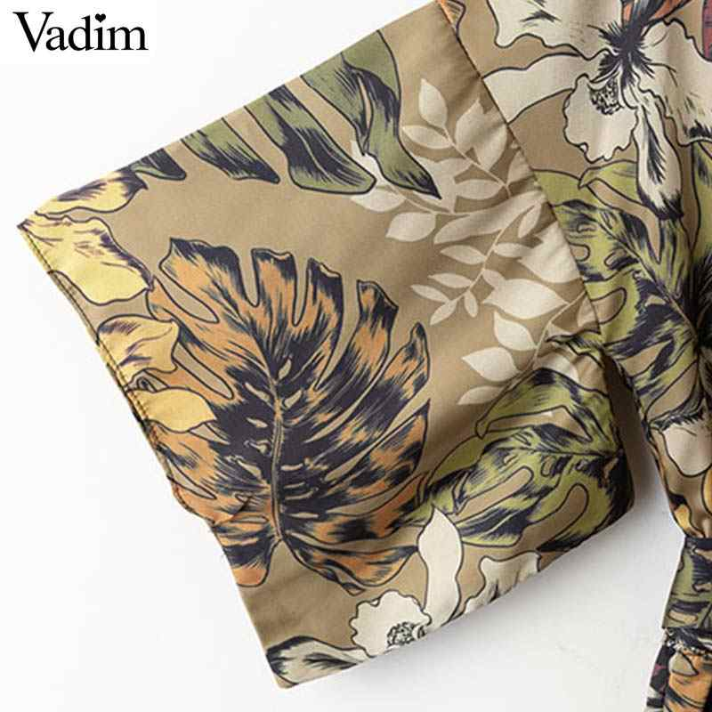 Vadim женский винтажный цветочный принт с v-образным вырезом комбинезоны с галстуком-бабочкой и поясом с открытой спиной Комбинезоны женские Ретро повседневные шикарные комбинезоны KA734