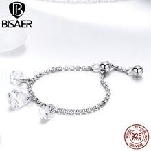 BISAER – bague en argent Sterling 925 avec Zircon cubique pour femme, bijou de fiançailles, de mariage, Simple, avec chaîne en cristal