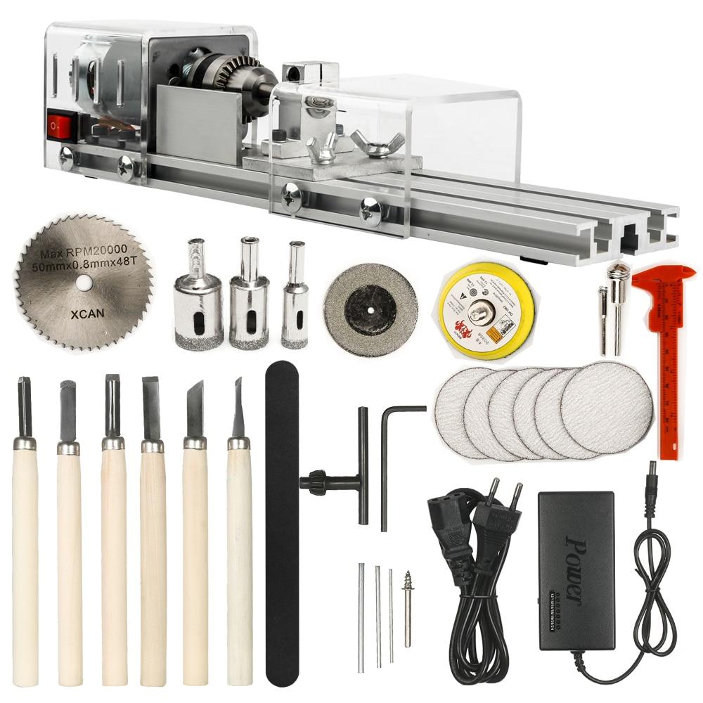OPHIR Mini Lathe Machine Tool DIY Woodworking Wood lathe Milling machine Grinding Polishing Beads Drill Rotary