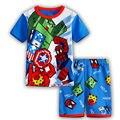 2016 Verão meninos Roupas Dos Desenhos Animados Crianças Ternos Top de Chiffon T shirt + Calças curtas 2 PCS Boutique Curto Roupas de Bebê menino st03
